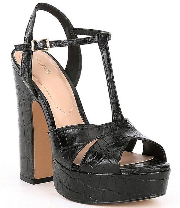 アルド レディース サンダル シューズ Varlet Croc Embossed Platform Sandals Black