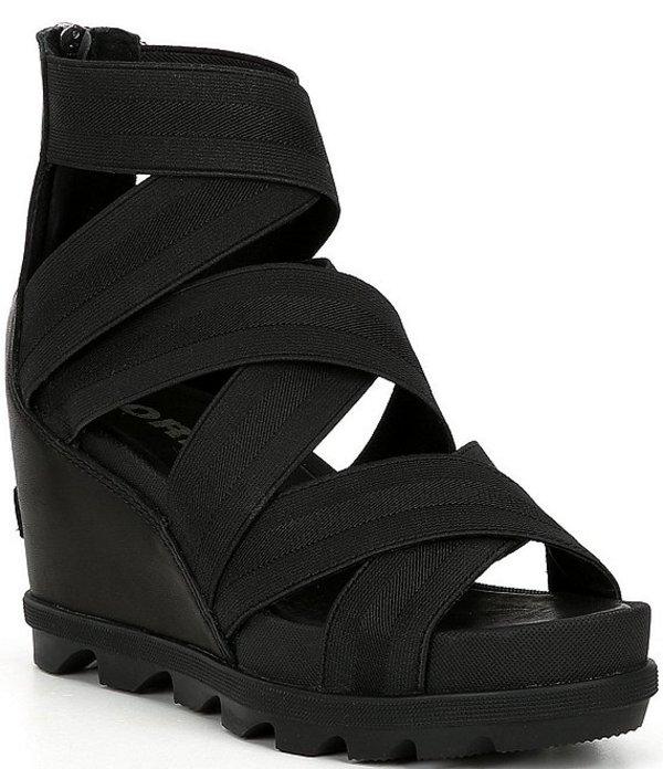 ソレル レディース サンダル シューズ Joanie II Stretch Gore Strap Wedge Sandals Black