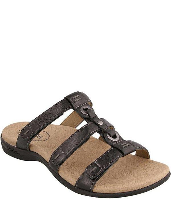 タオスフットウェア レディース サンダル シューズ Nifty Banded Leather Slide Sandals Black