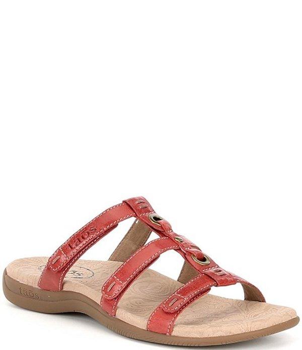タオスフットウェア レディース サンダル シューズ Nifty Banded Leather Slide Sandals Red