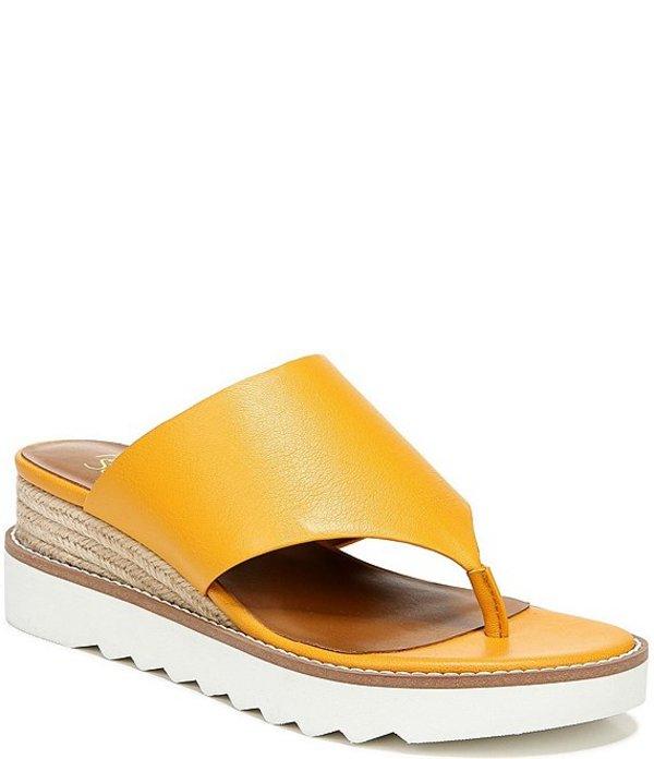 フランコサルト レディース サンダル シューズ Cramer Leather Espadrille Wedge Thong Sandals Goldenrod