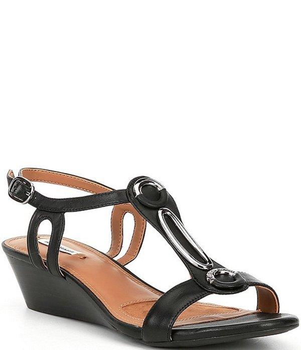 アレックスマリー レディース サンダル シューズ Mendall Ornamental Leather Wedge Sandals Black