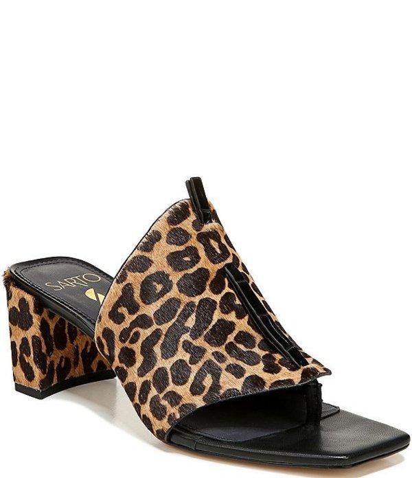 フランコサルト レディース サンダル シューズ Sarto by Franco Sarto Nina Leopard Print Calf Hair Square Toe Thong Slides Camel