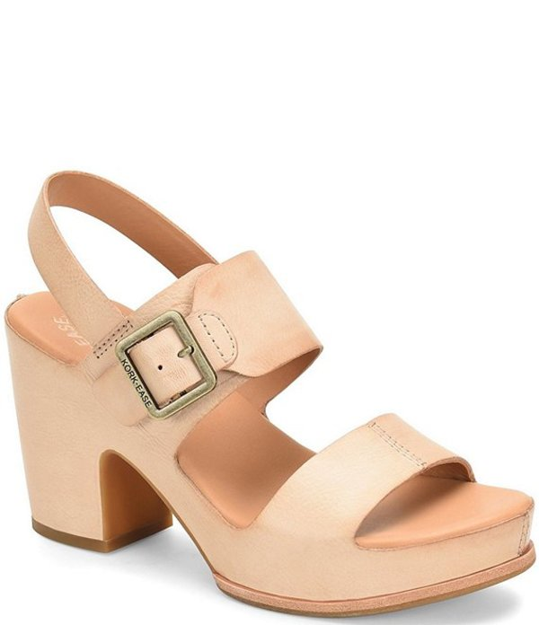 コークイーズ レディース サンダル シューズ San Carlos Leather Banded Block Heel Sandals Natural