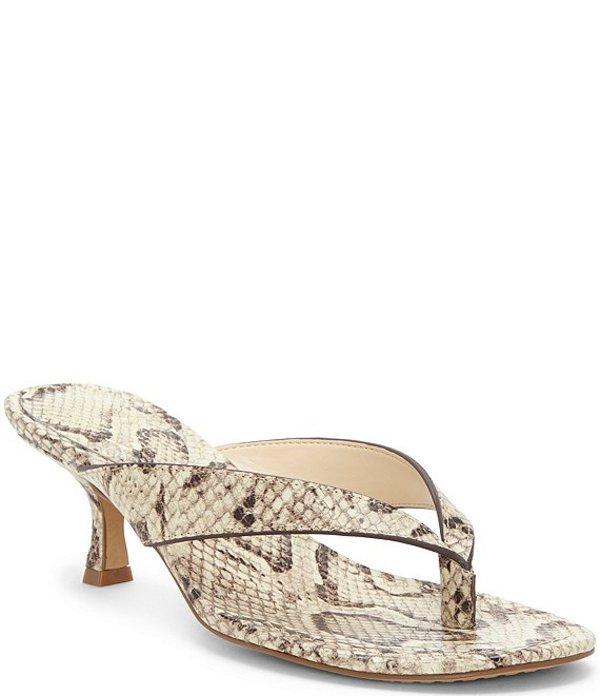 ヴィンスカムート レディース サンダル シューズ Marlinda Snake Print Leather Thong Slides Oatmeal Multi