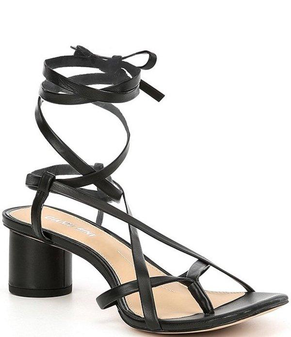 ジャンビニ レディース サンダル シューズ Wrenny Leather Strappy Thong Block Heel Sandals Black
