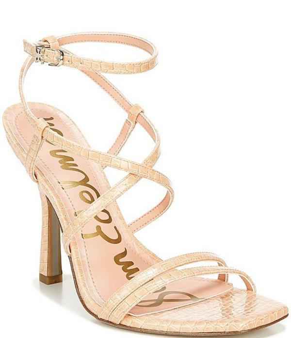 サムエデルマン レディース サンダル シューズ Leeanne Croc Patent Strappy Square Toe Dress Sandals Peach Fizz