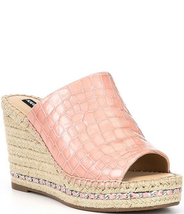 カール ラガーフェルド レディース スリッポン・ローファー シューズ Karl Lagerfeld Paris Carina Croc Print Patent Leather Chain Espadrille Slides Deep Blush