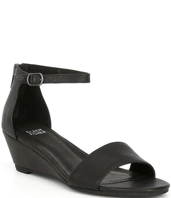 エイリーンフィッシャー レディース サンダル シューズ Mara Matte Leather Wedge Sandals Black Matte Leather