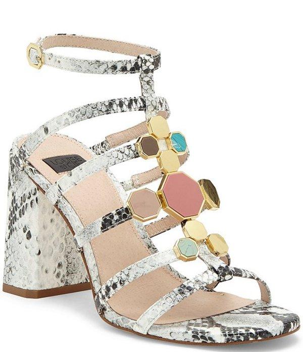 ルイスエシー レディース サンダル シューズ Leeba Snake Print Leather Jeweled Block Heel Gladiator Sandals Black/White