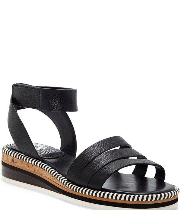 ヴィンスカムート レディース サンダル シューズ Mortinan Leather Banded Low Wedge Sandals Black