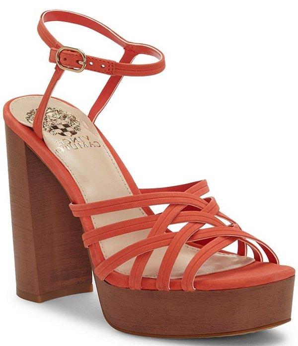 ヴィンスカムート レディース サンダル シューズ Larriss Suede Strappy Block Heel Platform Sandals Candy Coral