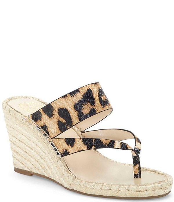 ヴィンスカムート レディース スリッポン・ローファー シューズ Lavanda Leopard Print Leather Thong Wedge Espadrilles Natural
