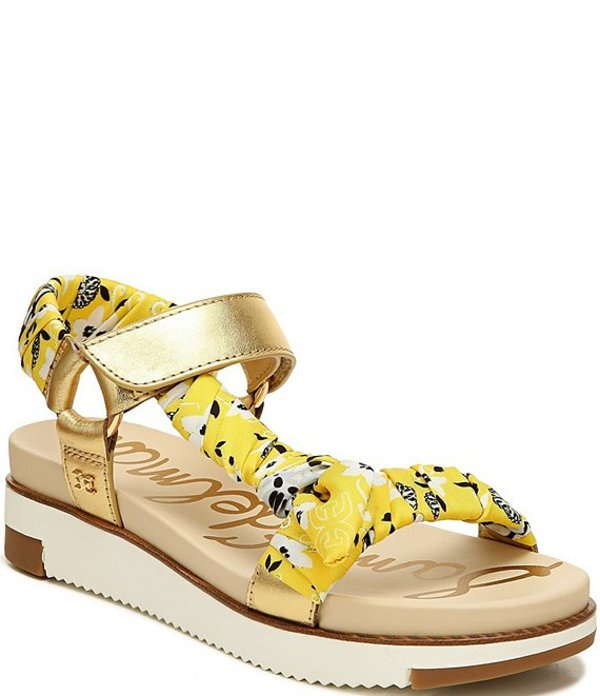 サムエデルマン レディース サンダル シューズ Ashie Leather and Scarf Print Sandals Dark Gold/Lemon Zest Multi