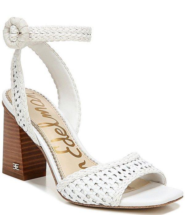 サムエデルマン レディース サンダル シューズ Danee Woven Leather Square Toe Dress Sandals Bright White