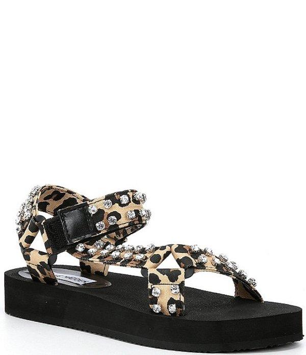 スティーブ マデン レディース サンダル シューズ Henley Leopard Rhinestone Embellished Sandals Leopard
