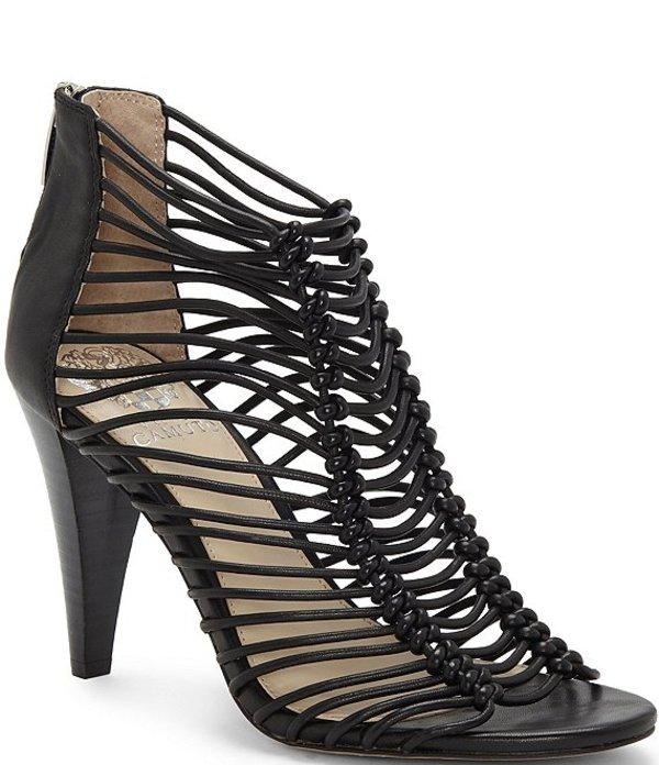 ヴィンスカムート レディース ブーツ・レインブーツ シューズ Alsandra Caged Leather Dress Sandals Black