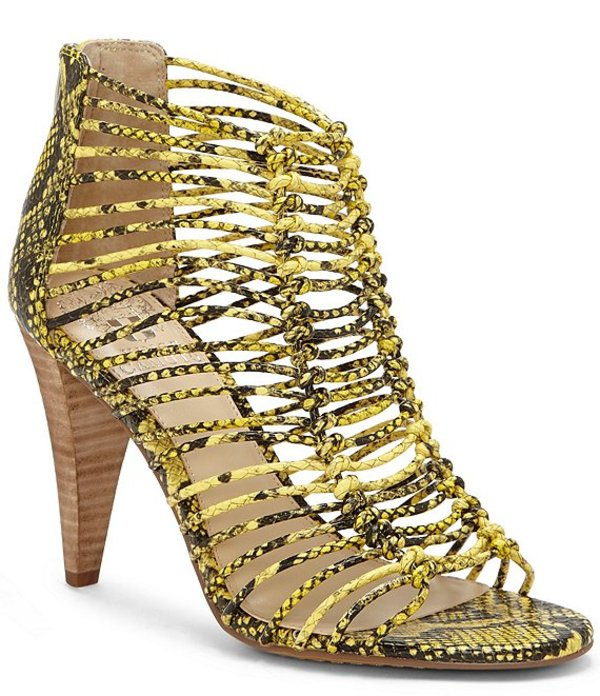 ヴィンスカムート レディース サンダル シューズ Alsandra Caged Snake Print Leather Dress Sandals Yellow Multi