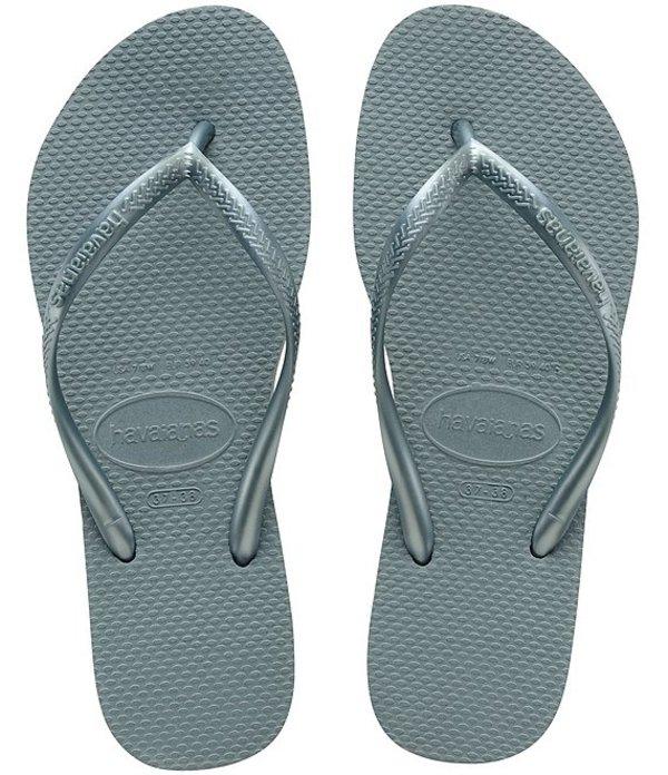 ハワイアナス レディース サンダル シューズ Slim Rubber Flip Flops Silver Blue