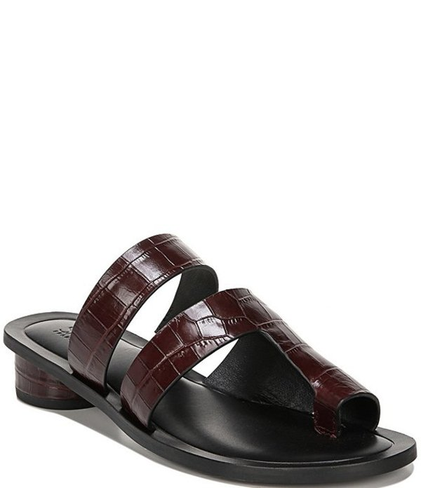 フランコサルト レディース サンダル シューズ Sarto By Franco Sarto Trixie Croc Print Leather Block Heel Toe Ring Sandals Bordo