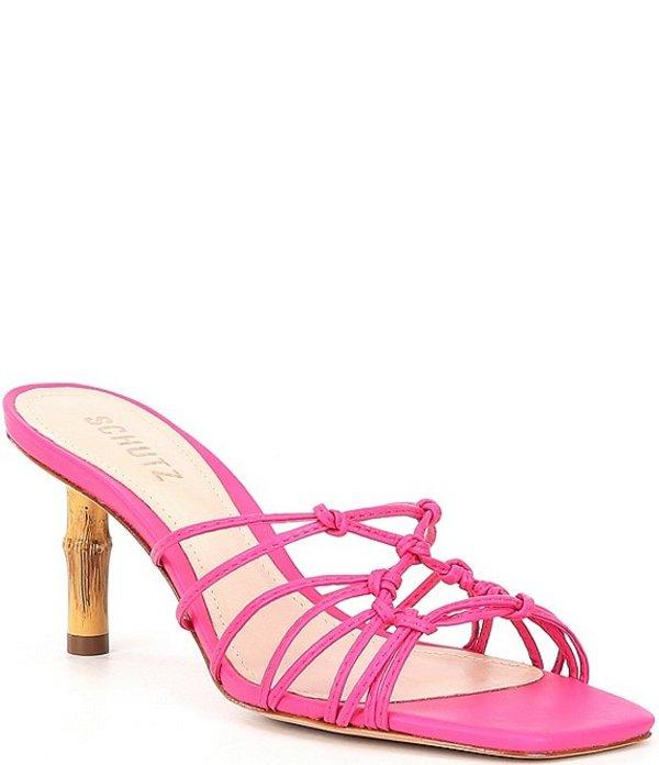 シュッツ レディース サンダル シューズ Delini Knotted Leather Square Toe Dress Slides Rose Pink