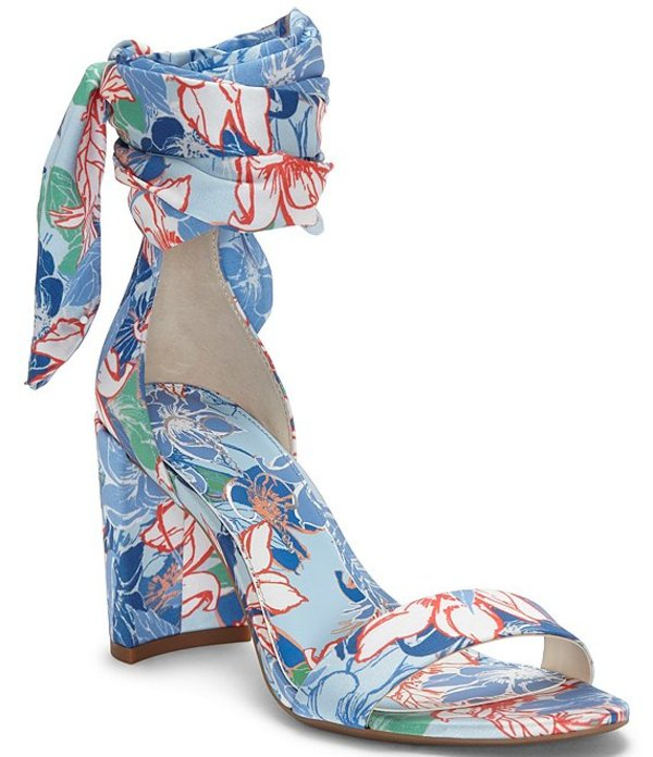 ジェシカシンプソン レディース サンダル シューズ Narella Floral Ankle-Tie Block Heel Sandals Blue