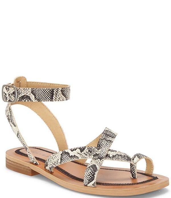 ラッキーブランド レディース サンダル シューズ Avonna Snake Print Flat Strappy Sandals Natural