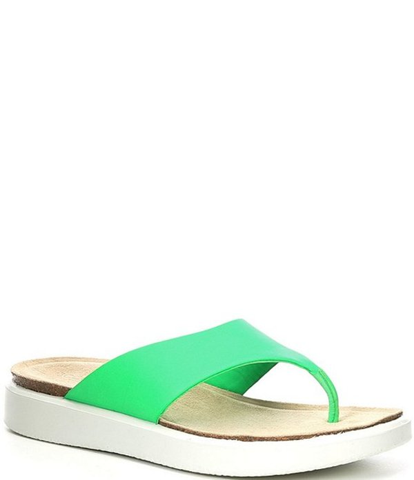 エコー レディース サンダル シューズ Corksphere Leather Thong Sandals Toucan Neon