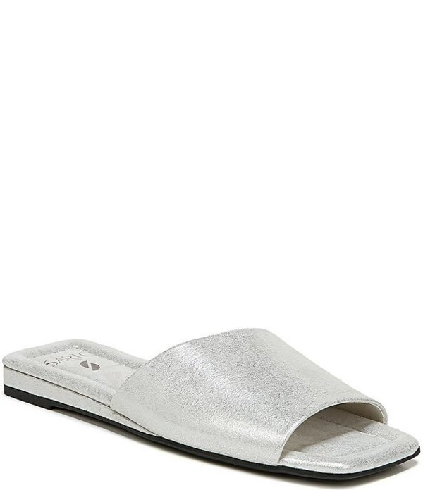 フランコサルト レディース サンダル シューズ Sarto by Franco Sarto Bordo Metallic Leather Mini Wedge Sqaure Toe Slides Silver