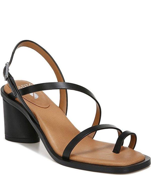 フランコサルト レディース サンダル シューズ Sarto by Franco Sarto Rache Leather Square Toe Block Heel Toe Ring Sandals Black