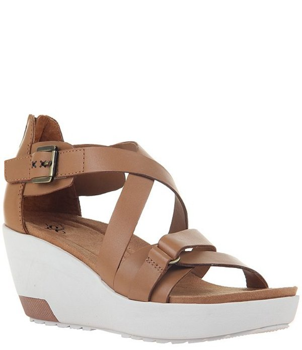 オーティービーティー レディース サンダル シューズ Forever Teresa Banded Leather Platform Wedge Sandals Boxwood