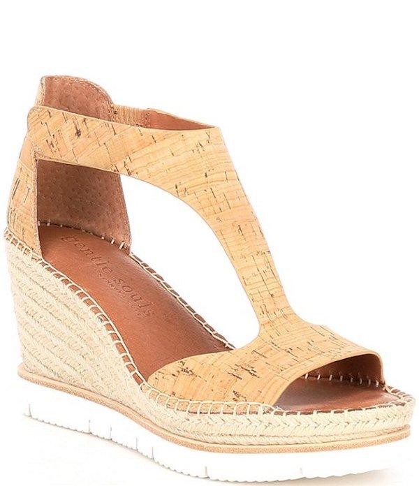 ジェントルソウルズ レディース サンダル シューズ Elyssa T Strap Cork Espadrille Wedge Sandals Natural