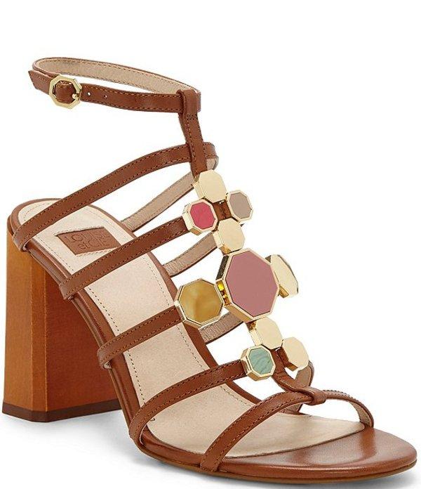 ルイスエシー レディース サンダル シューズ Leeba Leather Jeweled Block Heel Gladiator Sandals Toasted Almond