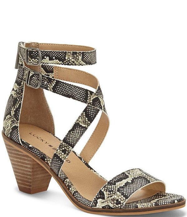 ラッキーブランド レディース サンダル シューズ Ressia Snake Print Leather Dress Sandals Natural Snake