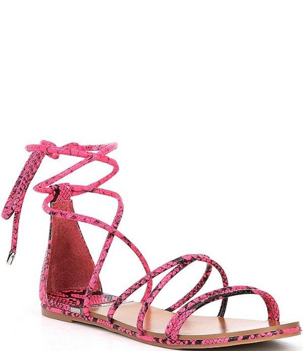 アントニオ メラーニ レディース サンダル シューズ Pindiee Snake Print Lace Up Flat Sandal Black/Neo Pink