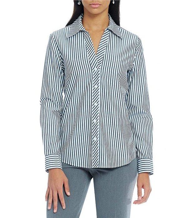 インベストメンツ レディース シャツ トップス Christine Gold Label Non-Iron Long Sleeve Bold Stripe Button Front Shirt Bold Stripe
