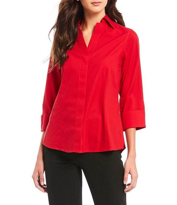 インベストメンツ レディース シャツ トップス Petite Size Taylor Gold Label Non-Iron Cuffed Sleeve Button Front Shirt Red