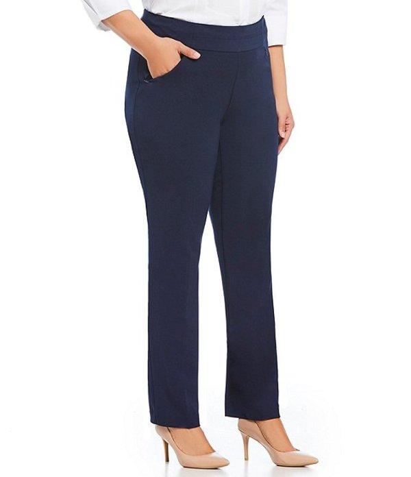 インベストメンツ レディース カジュアルパンツ ボトムス Plus Size the PARK AVE fit Pull-On Straight Leg Pant with Pockets Dark Navy