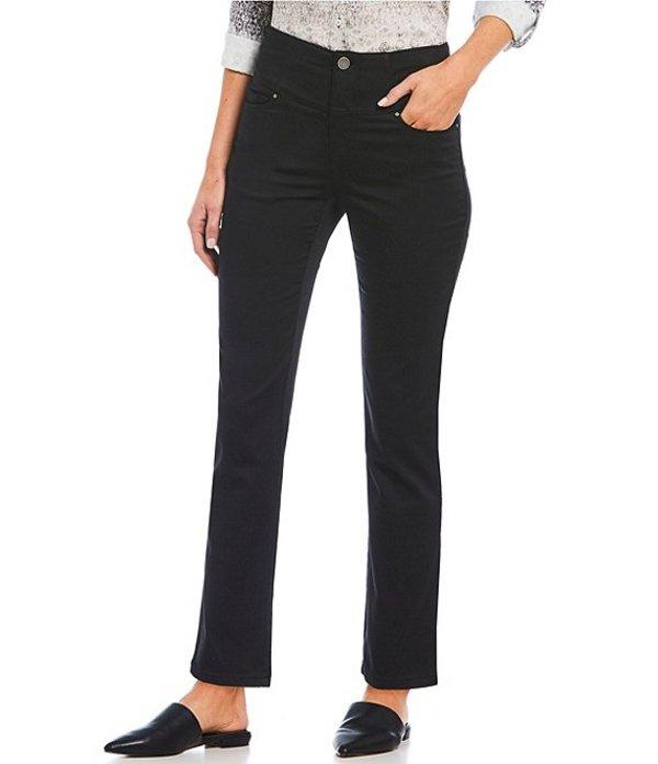 イントロ レディース デニムパンツ ボトムス Petite Size Solid Waist Away High Rise Straight Leg Tummy Control Pant Ebony Black