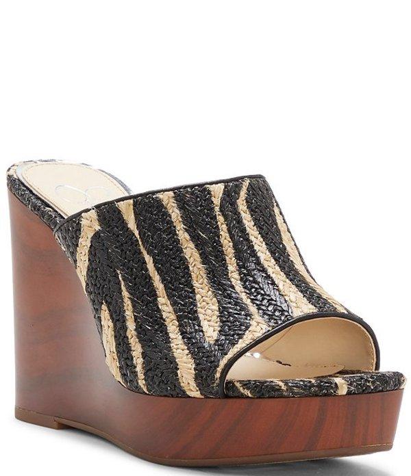 ジェシカシンプソン レディース サンダル シューズ Shantelle Zebra Raffia Wood Wedges Zebra