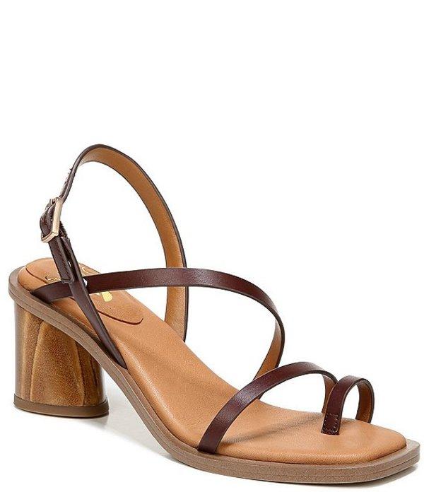 フランコサルト レディース サンダル シューズ Sarto by Franco Sarto Rache Leather Toe Ring Block Heel Square Toe Sandals Dark Brown