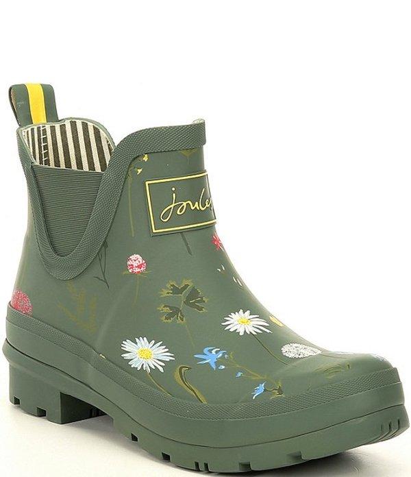 ジュールズ レディース ブーツ・レインブーツ シューズ Wellibob Print Short Rain Booties Green Floral