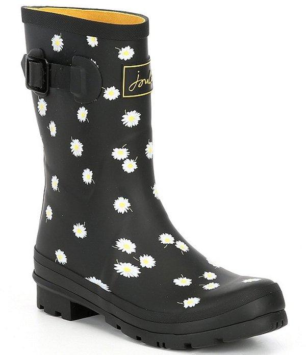 ジュールズ レディース ブーツ・レインブーツ シューズ Molly Welly Mid Daisy Printed Rain Boots Black Daisy