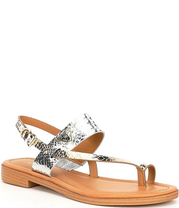 ゲス レディース サンダル シューズ Geesa Metallic Snake Embossed Toe Loop Sandals Gold/Silver