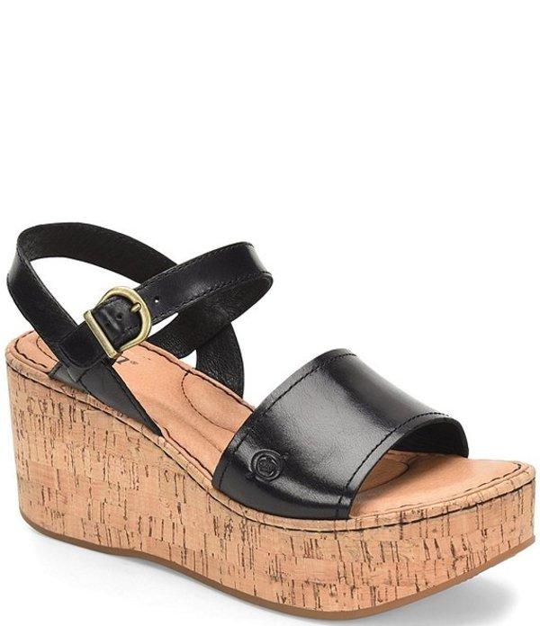 ボーン レディース サンダル シューズ Dorrah Leather Platform Wedge Sandals Black