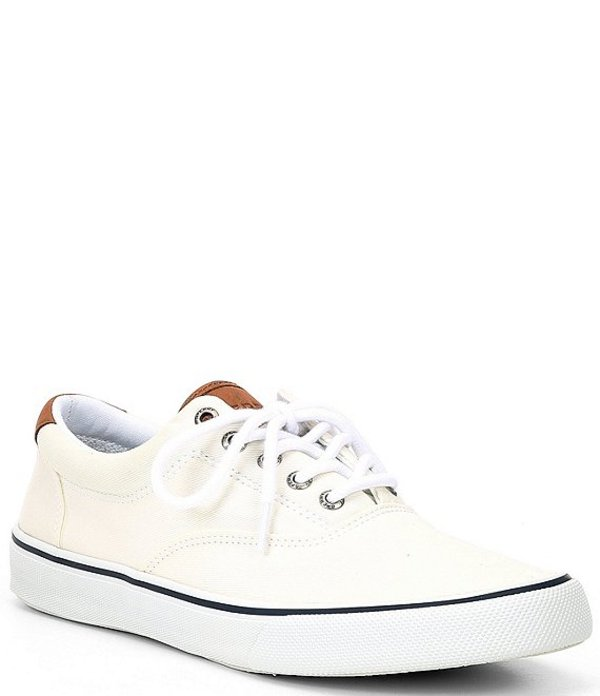 スペリー メンズ ドレスシューズ シューズ Men's Striper II CVO Canvas Sneakers Salt Washed White