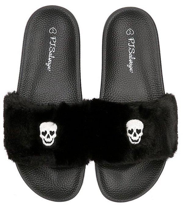 ピージェイサルベージ レディース サンダル シューズ Faux Fur Black Slipper Slides Black