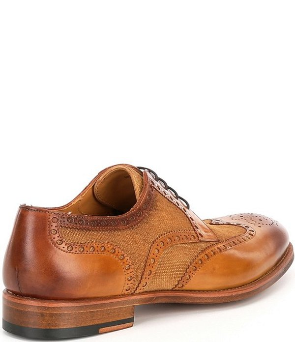 マグナーニ メンズ ドレスシューズ シューズ Men's Asturia Leather and Linen Wingtip Oxfords CueroF1clKJ3T