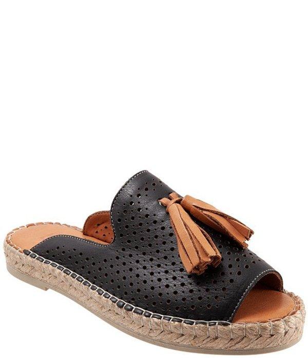 ブエノ レディース サンダル シューズ Navar Perforated Leather Tasseled Espadrille Slides Black