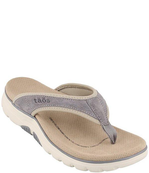 タオスフットウェア レディース サンダル シューズ Aura Suede Leather Thong Sandals Grey/Cloud
